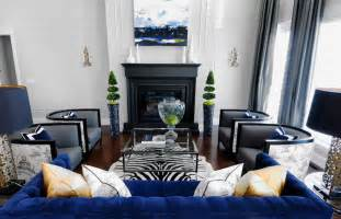 blue velvet sofa contemporary living room atmosphere