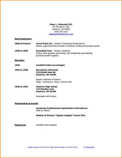Resume Template For High School Student by 7 Time Resume High School Student Financial Statement Form