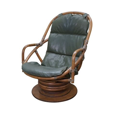 Vintage Rattan Bamboo Swivel Lounge Chair Chairish Swivel Rattan Chair