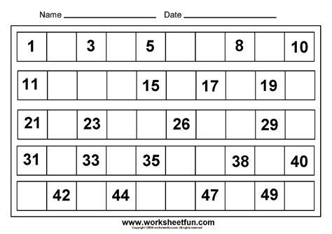 missing numbers 1 to 50 8 worksheets free printable