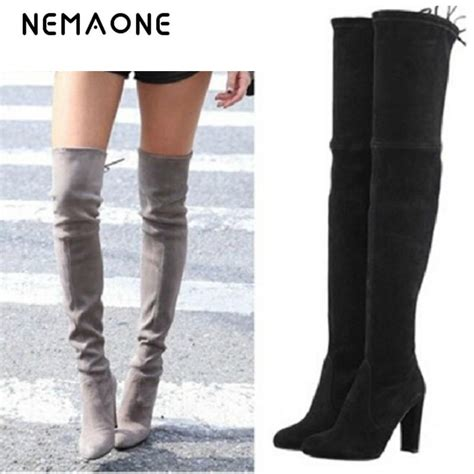 cheap the knee high heel boots nemaone stretch faux suede thigh high boots