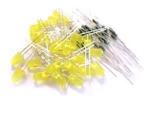 Cnc Led 5mm Bright Yellow Kuning Diffused microtivity 5mm diffused yellow led w resistors pack of 30