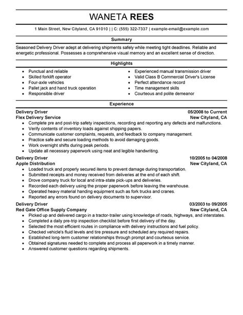 delivery driver resume sle driver resumes livecareer