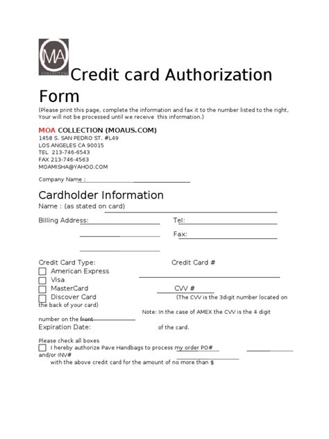 credit card authorization form docshare tips