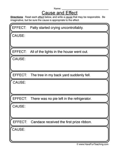 Cause And Effect Worksheets For Middle School by Cause And Effect Worksheet Teaching