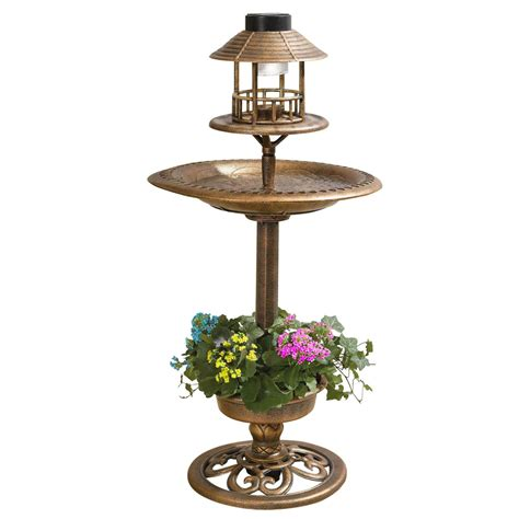 outdoor solar table l copper effect bird bath feeding table station outdoor
