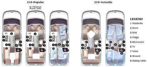 roadtrek floor plans roadtrek 210 popular and 210 versatile class b motorhomes