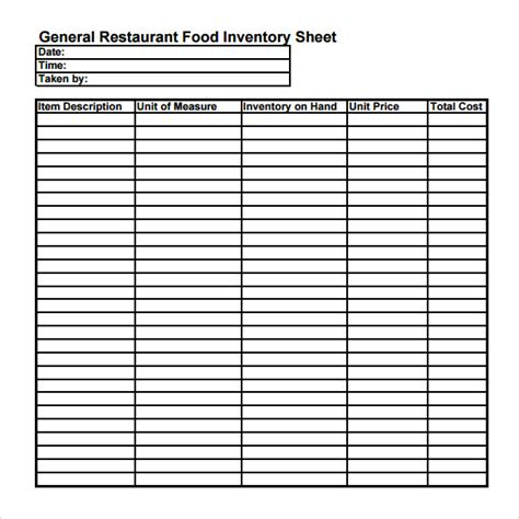 Restaurant Inventory Sheet Template Food Inventory Template 9 Download Free Document In Pdf Excel