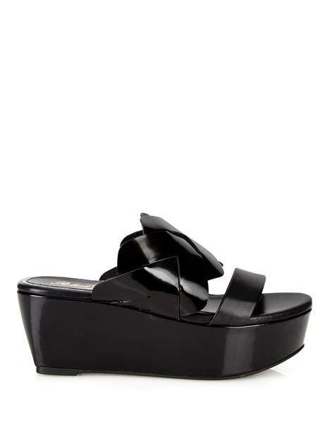 leather flatform sandals robert clergerie fliz leather flatform sandals in black lyst
