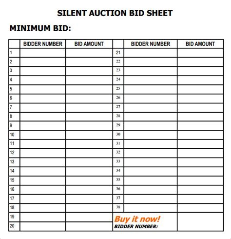 auction template search results for silent auction forms bid sheet