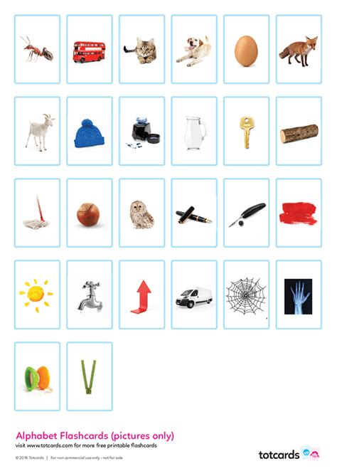 printable alphabet flashcards with pictures free alphabet flashcards for kids totcards