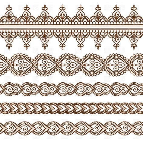 set of five oriental borders royalty free vector clip art