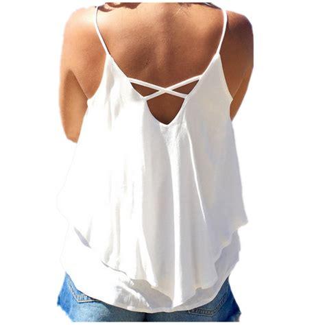 Boho Blouse Vest boho chiffon backless tank tops summer casual