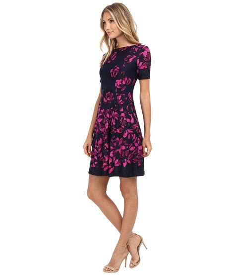 Yuana Flowery Flare Mini Dress lyst donna sleeve floral printed scuba fit