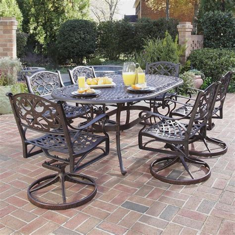 shop home styles biscayne  piece rust bronze aluminum patio dining set  lowescom