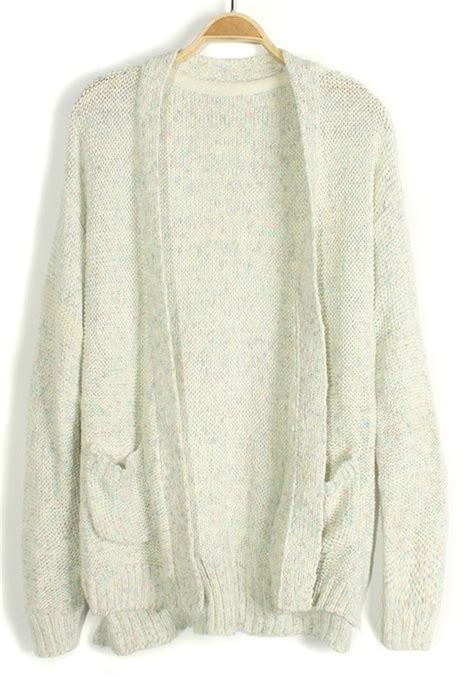 White Cardigan With Pockets Sweater