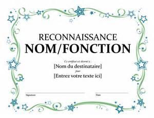 certificat de reconnaissance office templates