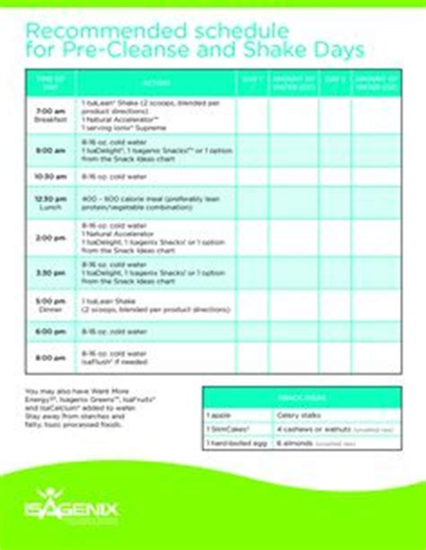 Detox Shake Routine by Isagenix Shake Day Planner Cleanse Day Planner Http