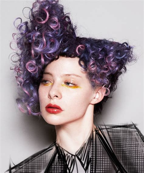 history of avant garde hairstyles long purple curly coloured multi tonal avant garde