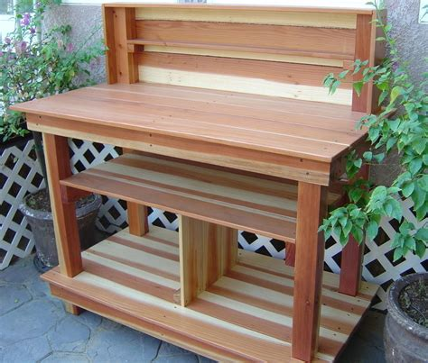 redwood potting bench redwood potting table by bill lumberjocks com