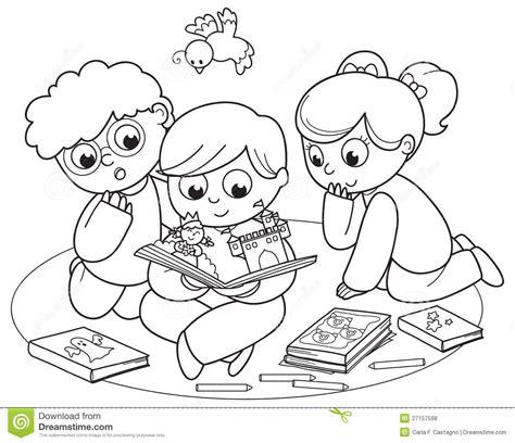 clipart da colorare children reading clipart black and white clipartsgram
