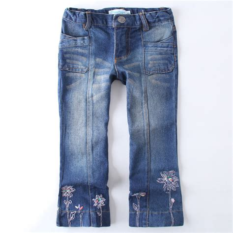 jeans with pattern 2016 new fashion girls jeans pants embroidery flowers