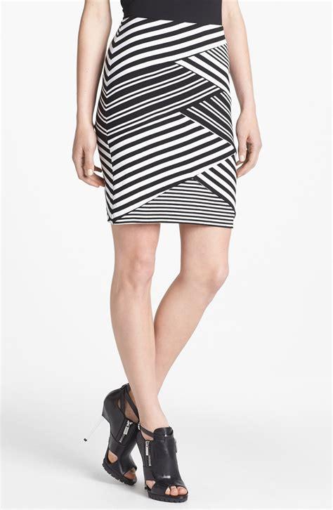 miller stripe jersey pencil skirt in black black