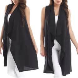 Drape Front Cardigan Usa Women Long Tunic Sweater Vest Top Sleeveless Open