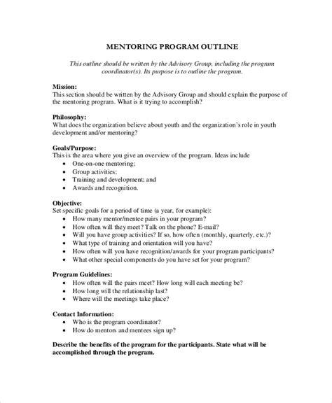 Mentoring Plan Outline by 8 Program Outline Exles Sles