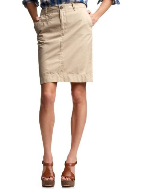 skirt blue check out gap khaki pencil skirt