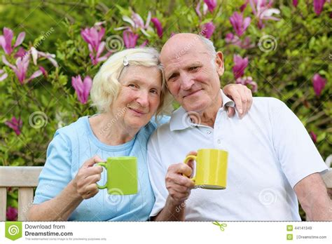Backyard For Seniors Loving Senior Tea In The Garden Stock