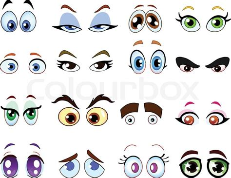 printable doll eyes cartoon auge satz vektorgrafik colourbox