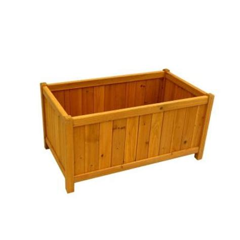 home depot wooden planters leisure season 32 in x 18 in cedar planter box pb20012 the home depot
