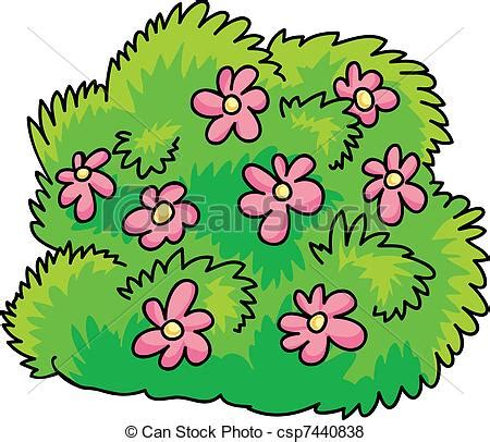 Vector of bush with flowers   cartoon Illustration of