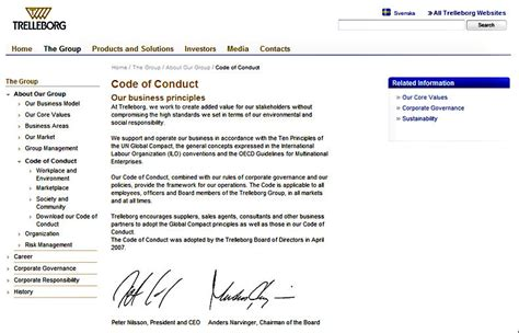 Sweden S Trelleborg Group About Risk And Governance Corporate Eye Vendor Code Of Conduct Template
