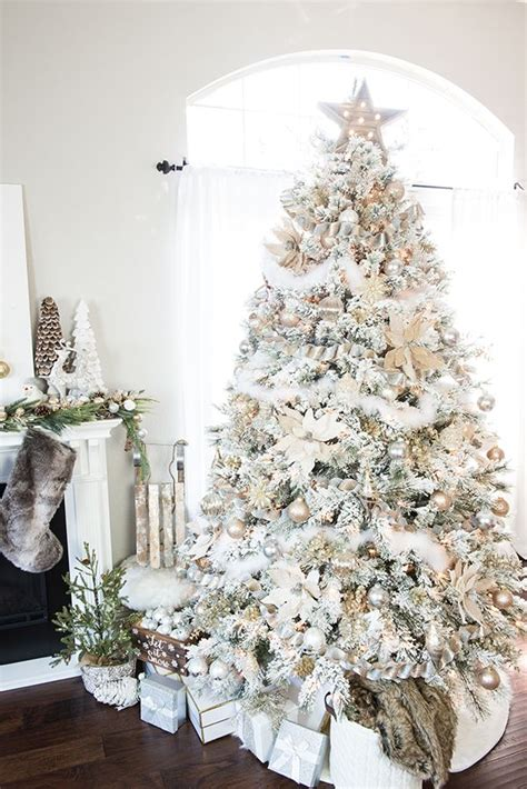 how to decorate a flocked gold and silver winter