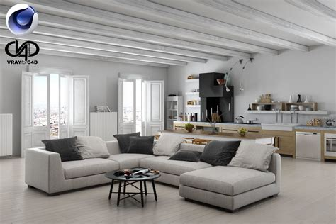 model living room living room and kitchen c4d vray 3d model c4d cgtrader com