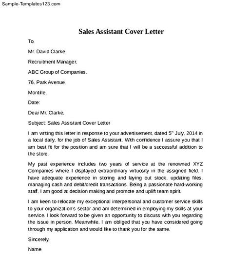 warehouse cover letter sles sales assistant cover letter exle sle templates