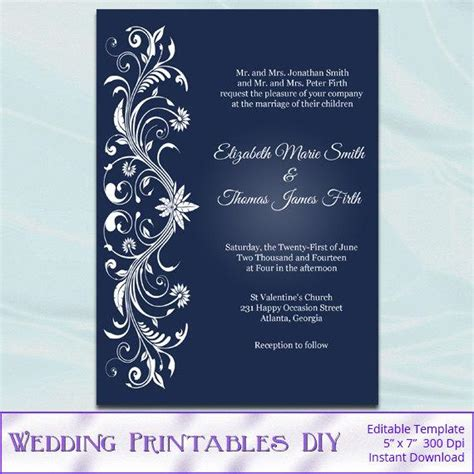 Items Similar To Printable Invitation Templates Diy Navy Blue And White Wedding Invites Bridal Navy Blue Wedding Invitation Templates