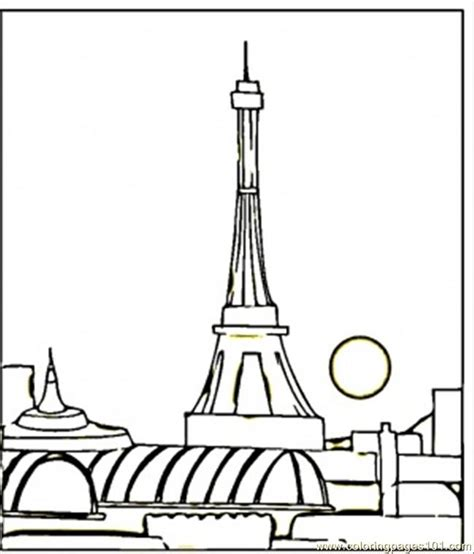 coloring pages view of paris at night countries gt france