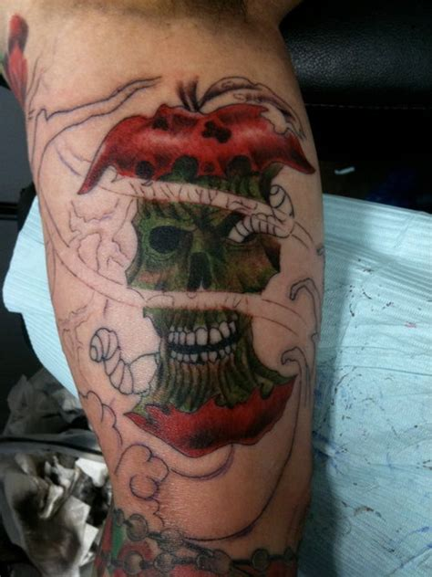 rotten tattoo rotten apple on leg