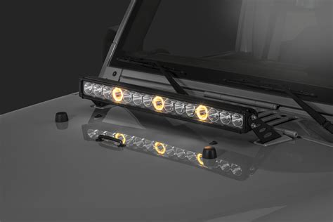 Quadratec J3 Led 28 Quot Light Bar With Hood Mount Brackets Jk Led Light Bar