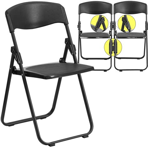 Black Plastic Folding Chairs by Hercules Series 880 Lb Capacity Heavy Duty Black Plastic