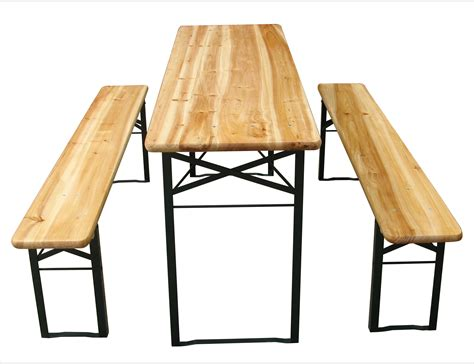 folding benches outdoor outdoor folding wooden beer party table with 2x benches