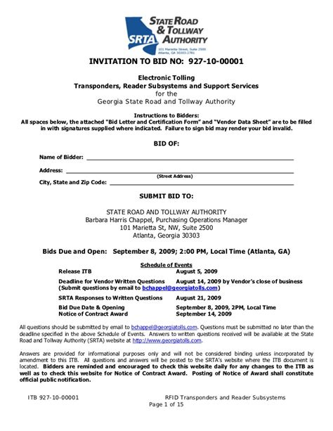 Invitation To Bid No 927 10 00001 Invitation To Bid Construction Template