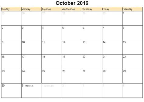 2016 Calendars To Print October 2016 Printable Calendar 171 Printable Hub