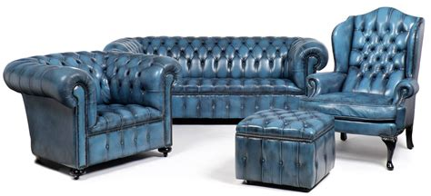 Blue Chesterfield Sofa Vintage Steel Blue Leather Chesterfield Sofa At 1stdibs