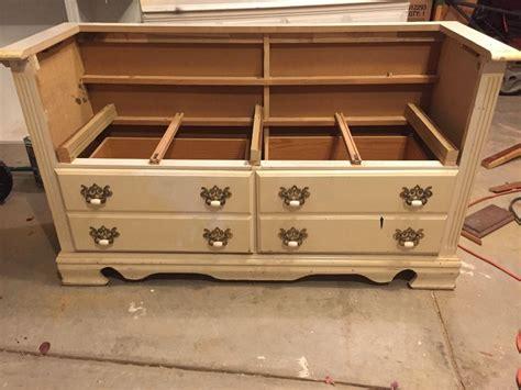 hometalk repurposed dresser bench