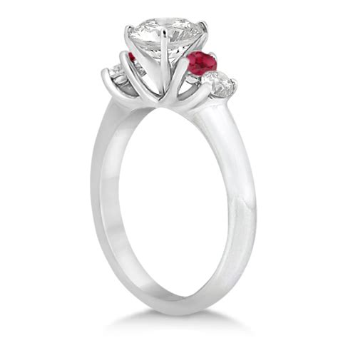 Ruby 1760 Ct five and ruby engagement ring 14k white gold