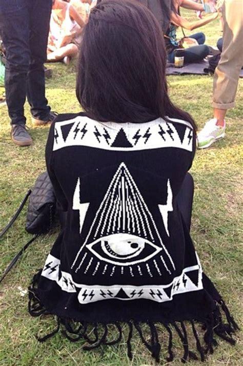 Sweater Squad Triangle sweater white triangle cardigan illuminati tassel lightning bolt wheretoget